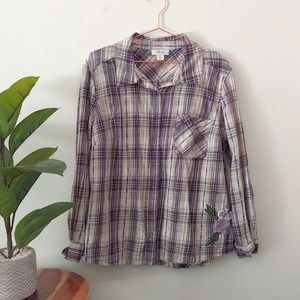 Style & Co. purple and white plaid snap up shirt